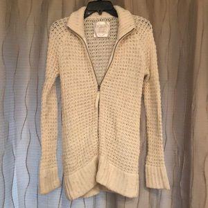 Old Navy zip up sweater coat, Ivory